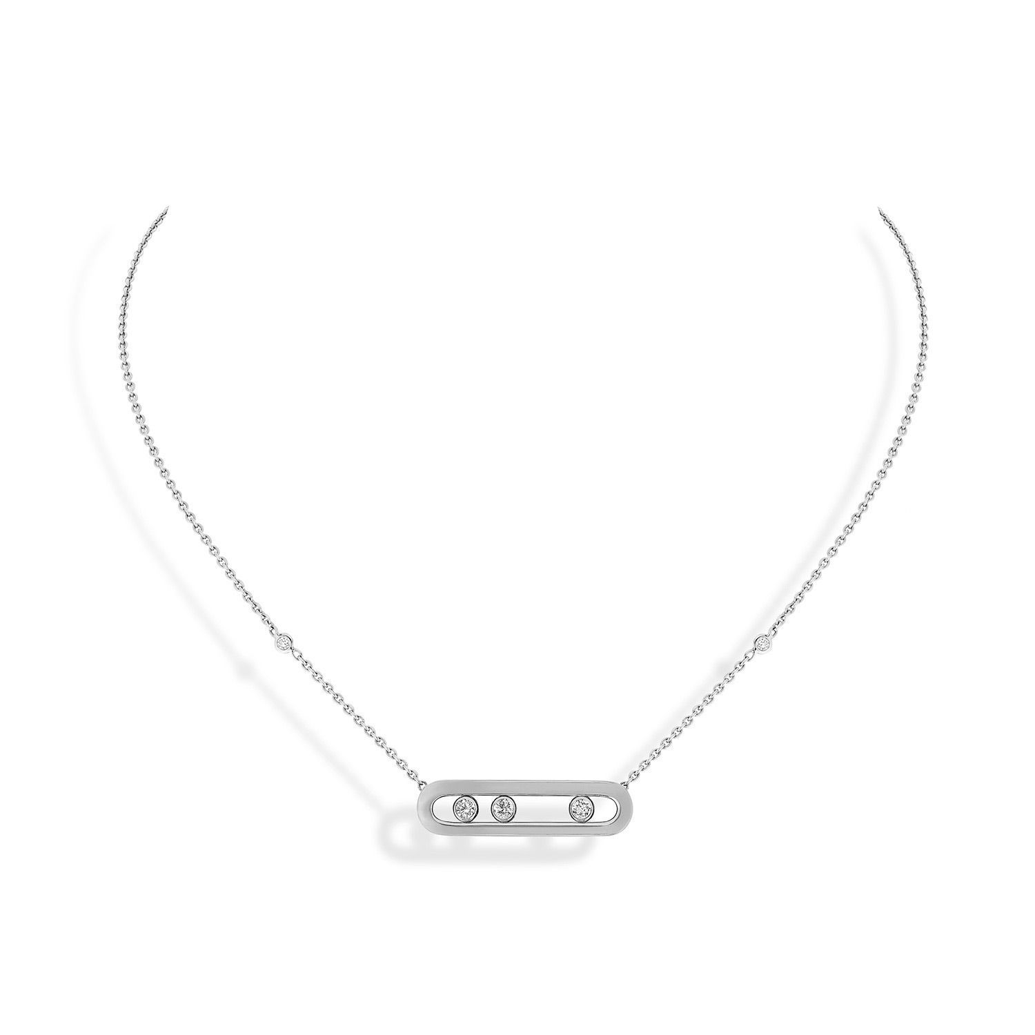 Collier Messika Baby Move en or blanc et diamants vue 1
