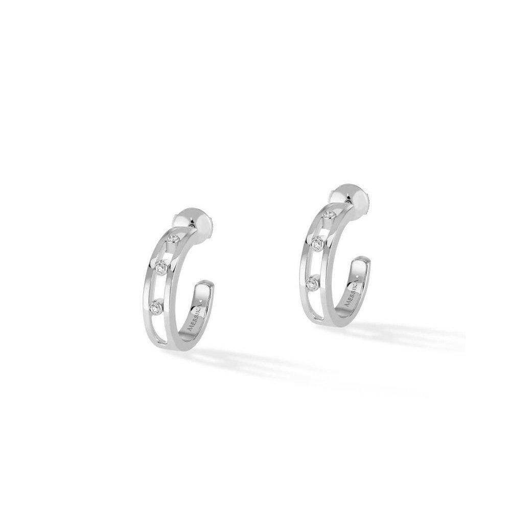 Boucles d'oreilles Messika Créoles Move S en or blanc et diamants