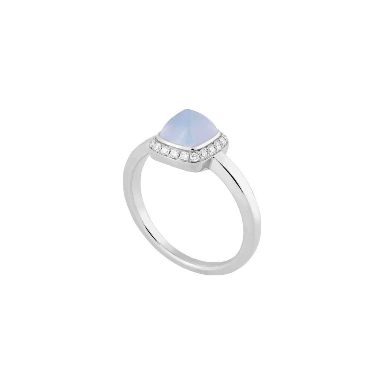 Bague FRED Pain de sucre en or blanc, diamants et calcédoine vue 1
