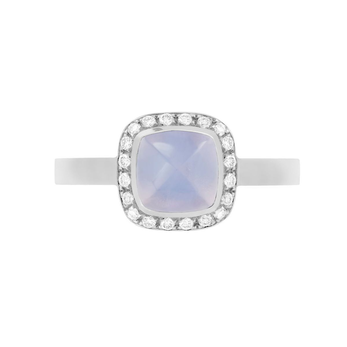 Bague FRED Pain de sucre en or blanc, diamants et calcédoine vue 2