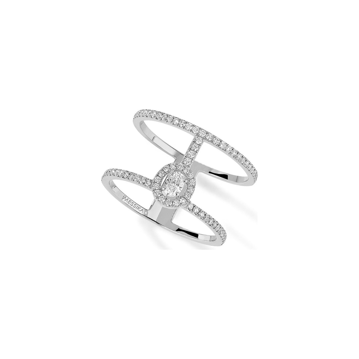 Bague Messika Glam'Azone Amazone 2 rangs en or blanc et pavés de diamants