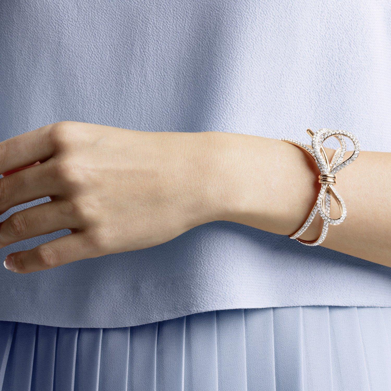 Bracelet manchette Swarovski Lifelong Bow métal doré rose et cristaux  Swarovski
