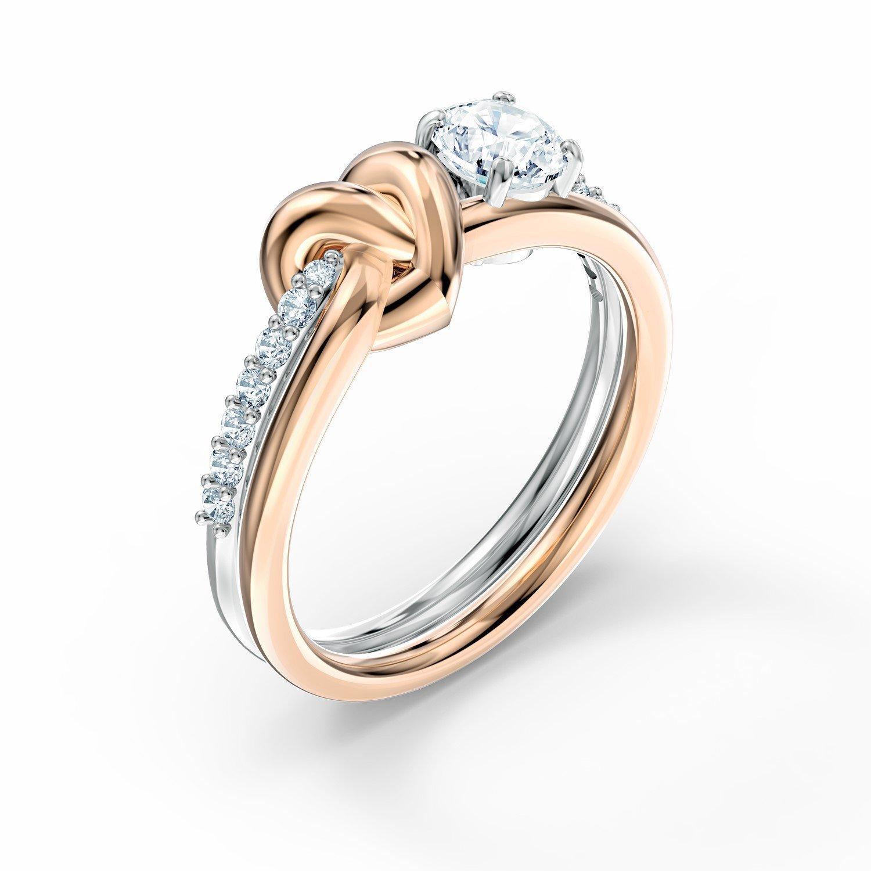 Bague Swarovski Lifelong Heart en métal rhodié et métal doré rose et  cristaux Swarovski, taille 55