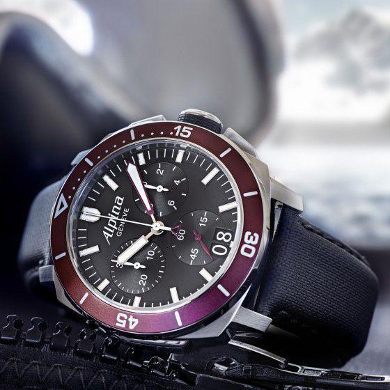 Montre Alpina Seastrong Diver 300 chronographe grande date vue 2
