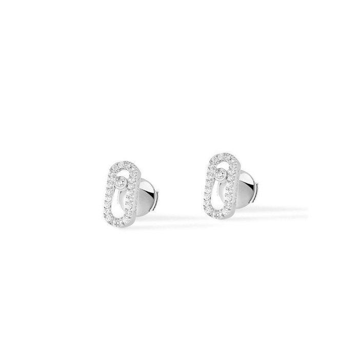 Boucles d'oreilles Messika Move Classique Uno en Or blanc et Diamant