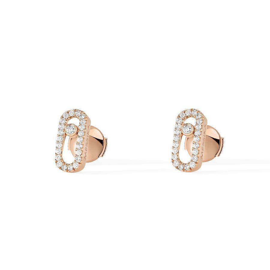 Boucles d'oreilles Messika Move Classique en or rose et diamants