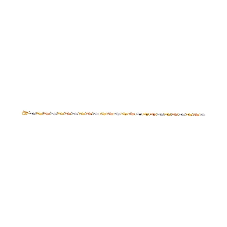 Bracelet maille creuse en or jaune, or blanc et or rose