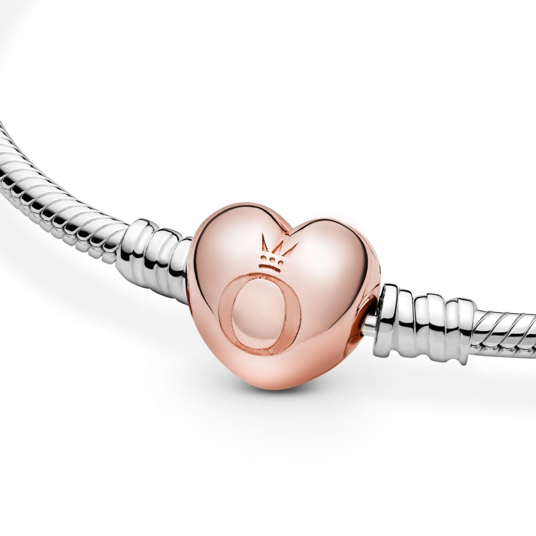 Bracelet Pandora Icons maille serpent fermoir cœur moments en métal doré  rose et argent, 21 cm