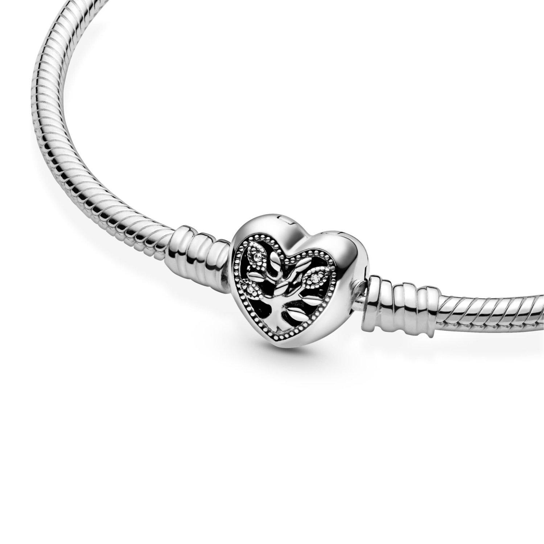Bracelet Pandora People maille serpent fermoir cœur arbre de vie moments en  argent et oxyde de zirconium, 19 cm