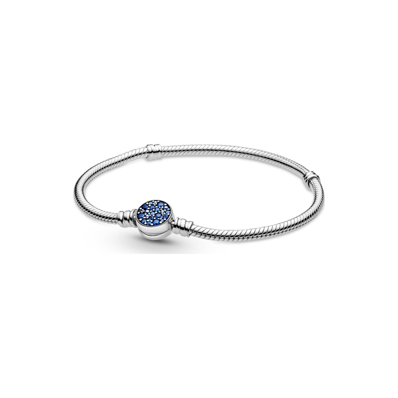 Bracelet Pandora Colours maille serpent fermoir médaillon bleu scintillant  moments en argent et cristal, 17 cm