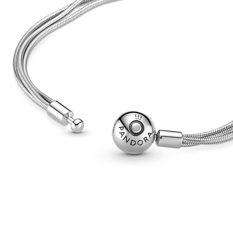 Bracelet Pandora Icons maille serpent multi-rangs moments en argent, 18 cm