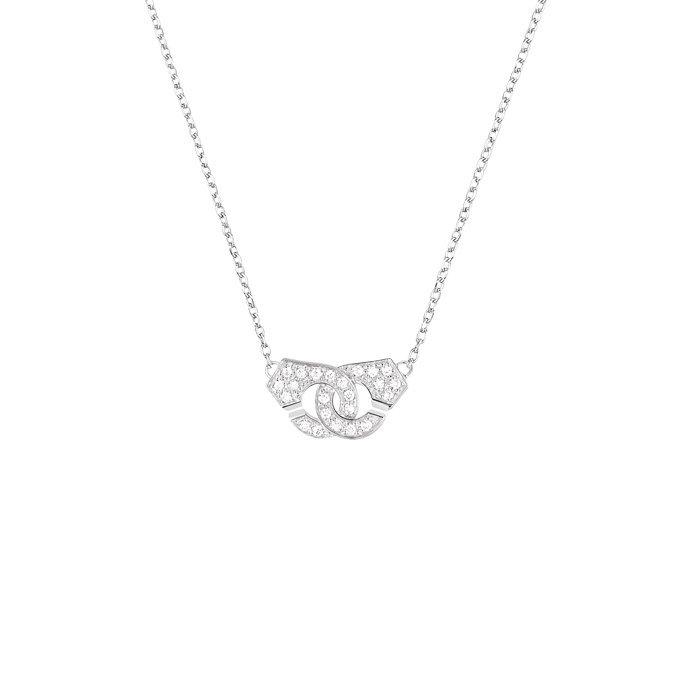 Collier dinh van Menottes dinh van R8 en Or blanc et Diamant