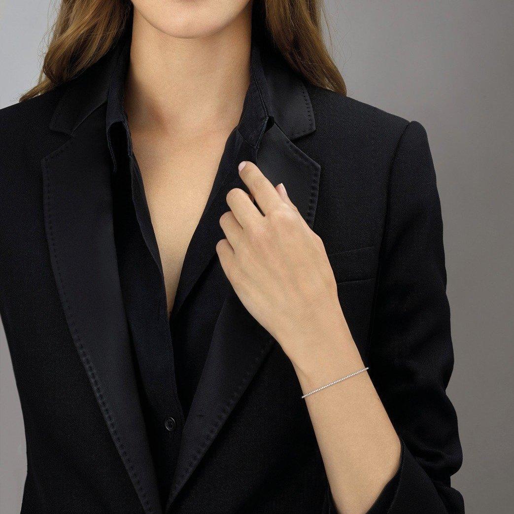 Bracelet Messika Skinny en or rose et diamants vue 2