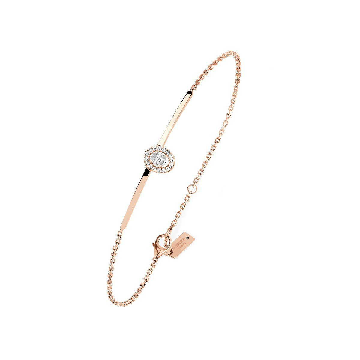 Bracelet Messika Glam'Azone en or rose et diamants vue 1