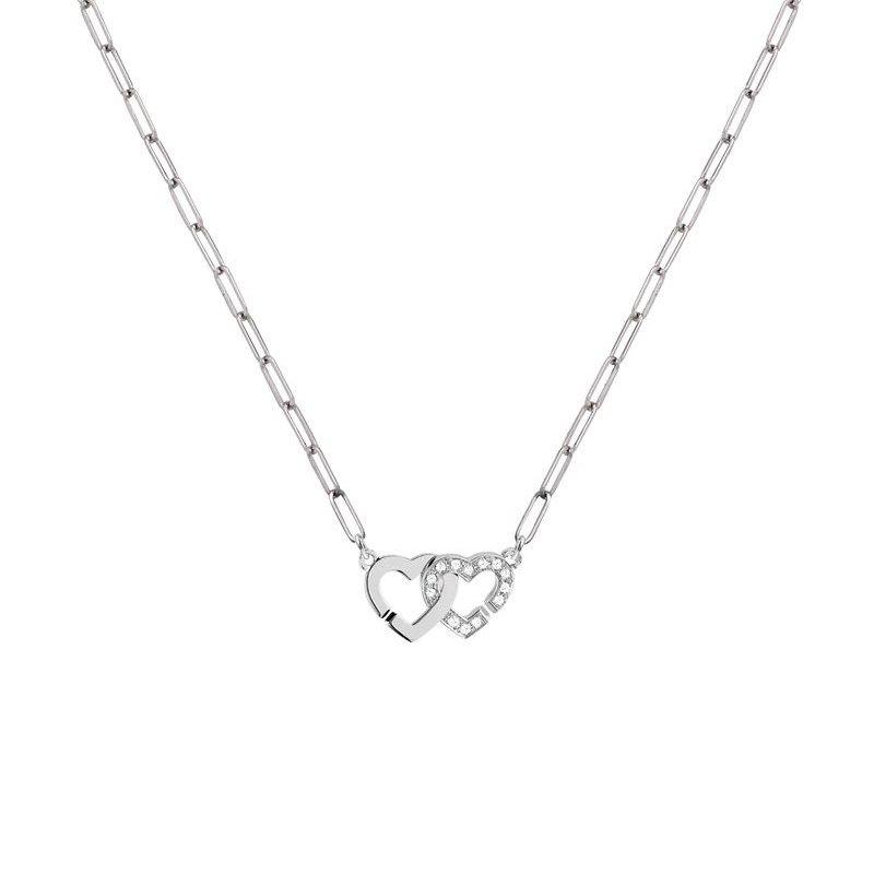 Pendentif dinh van Double Cœurs R9 en Or blanc et Diamant