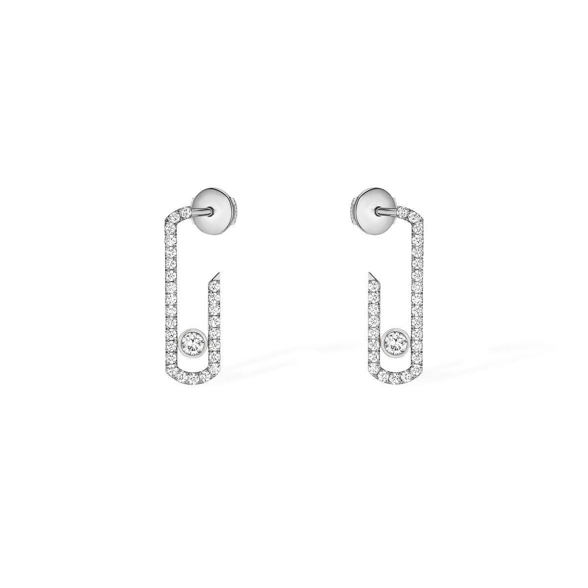 Boucles d'oreilles Messika Move Addiction pavées de diamants en or blanc