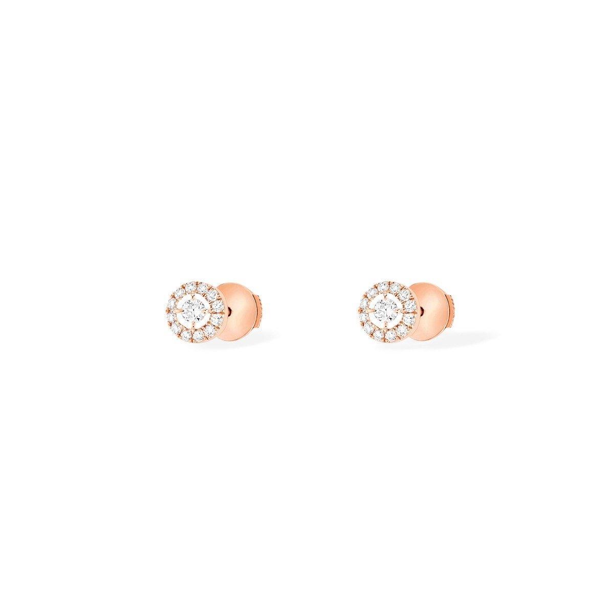 Boucles d'oreilles Messika Joy Diamants Ronds PM en or rose et diamants vue 2
