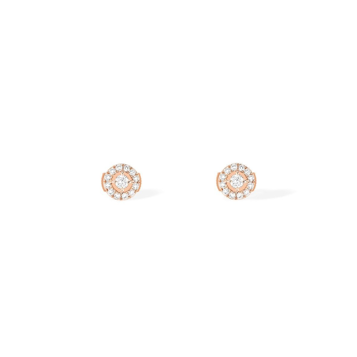 Boucles d'oreilles Messika Joy Diamants Ronds PM en or rose et diamants vue 1