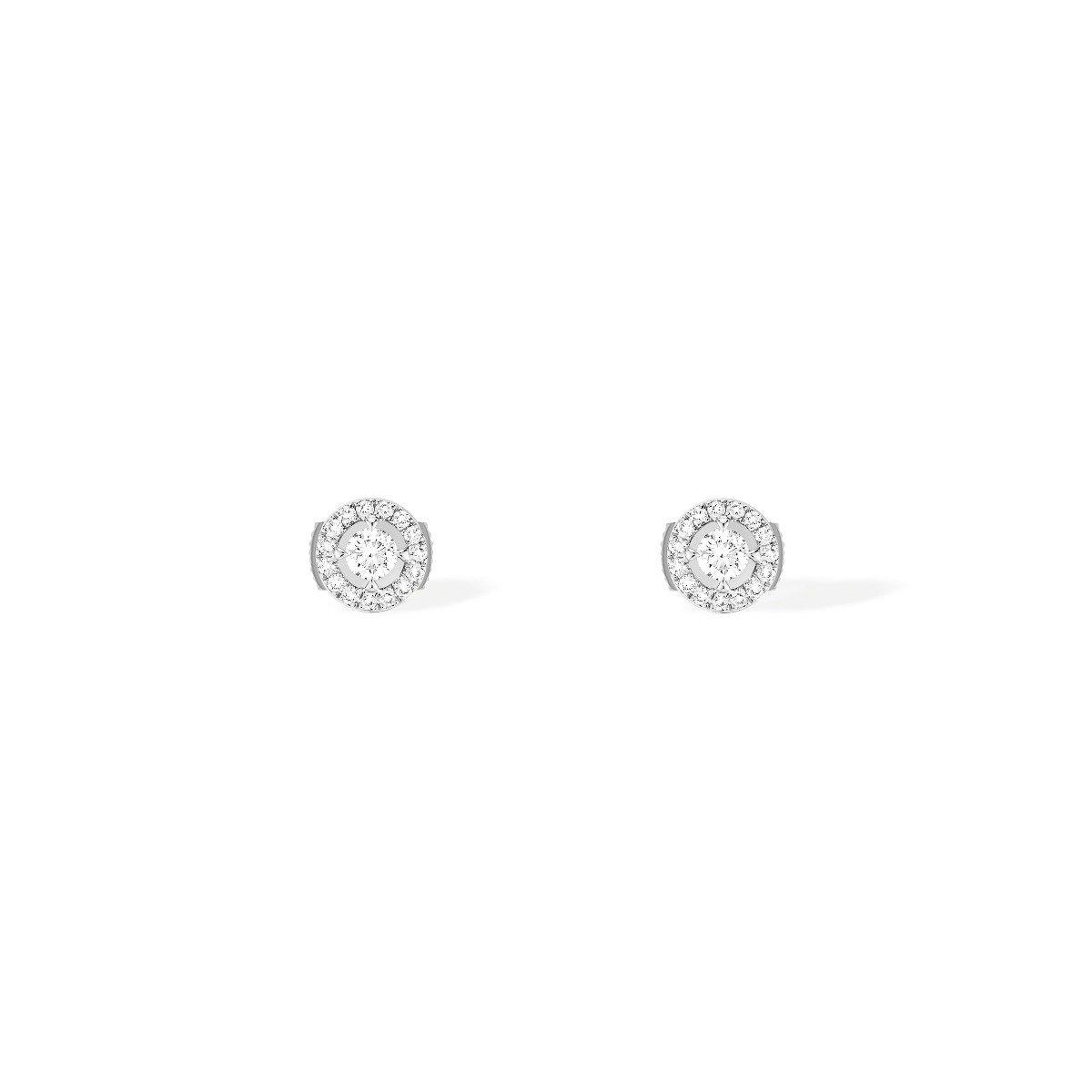 Boucles d'oreilles Messika Joy Diamants Ronds en or blanc et diamants vue 1