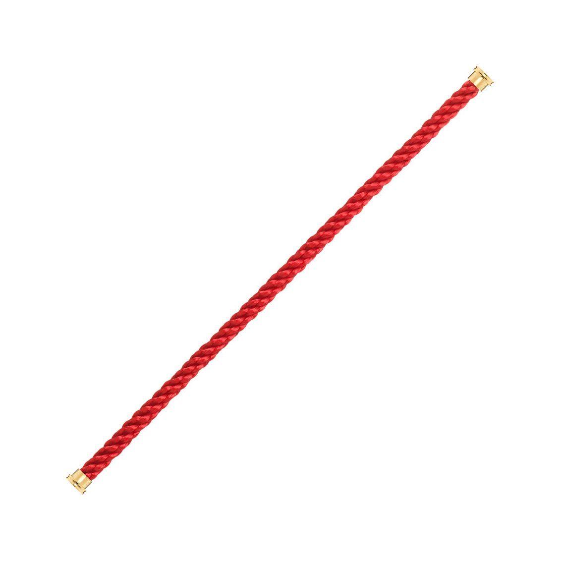 Câble grand modèle pour bracelet FRED Force 10 rouge en Corderie avec embouts plaqué or jaune vue 1