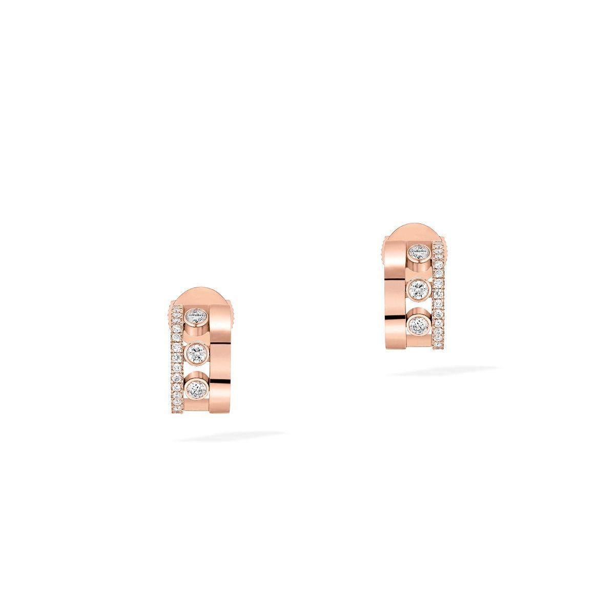 Mini Créoles Messika Move Romane en or rose et diamants