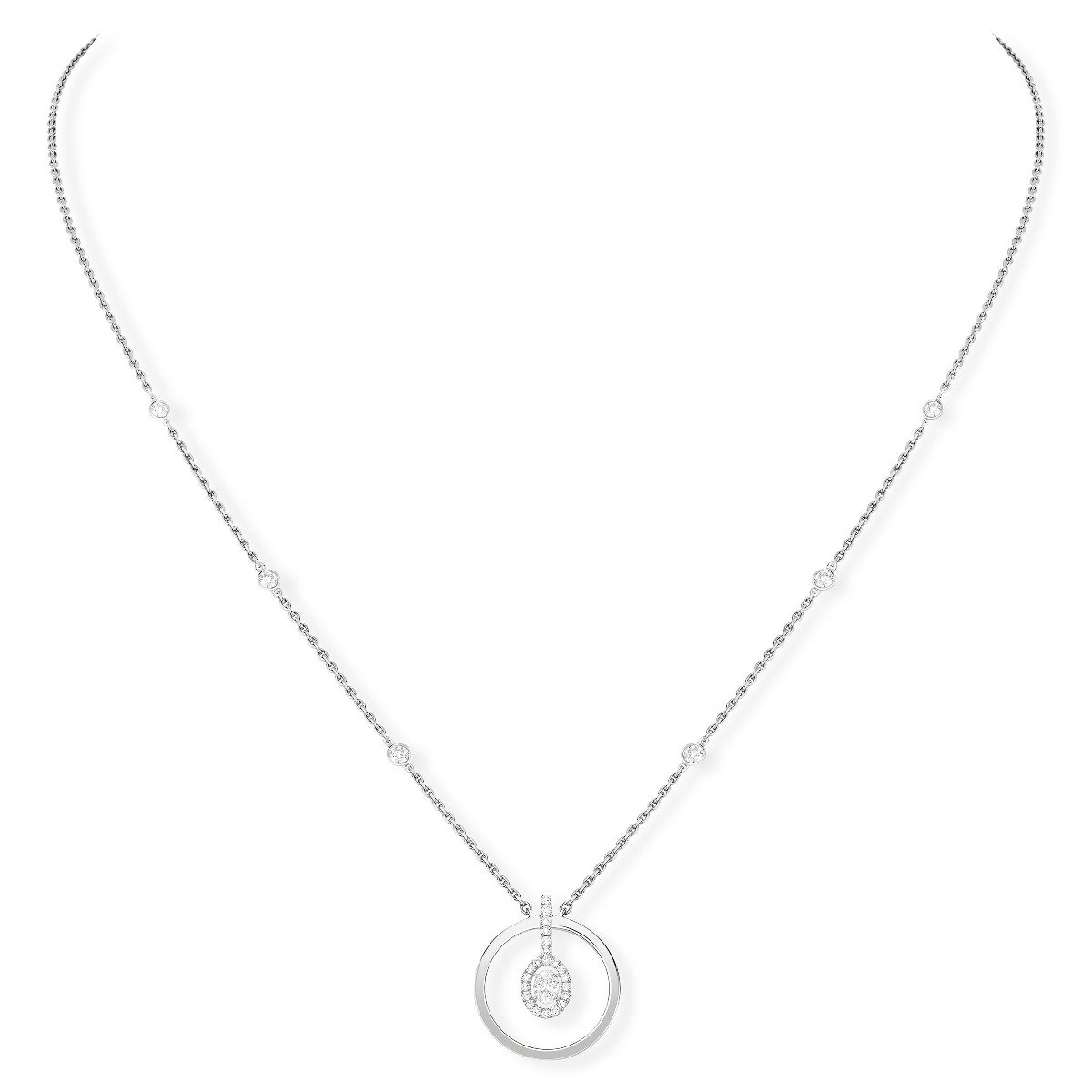 Collier Messika Glam'Azone Graphic en or blanc et diamants vue 1