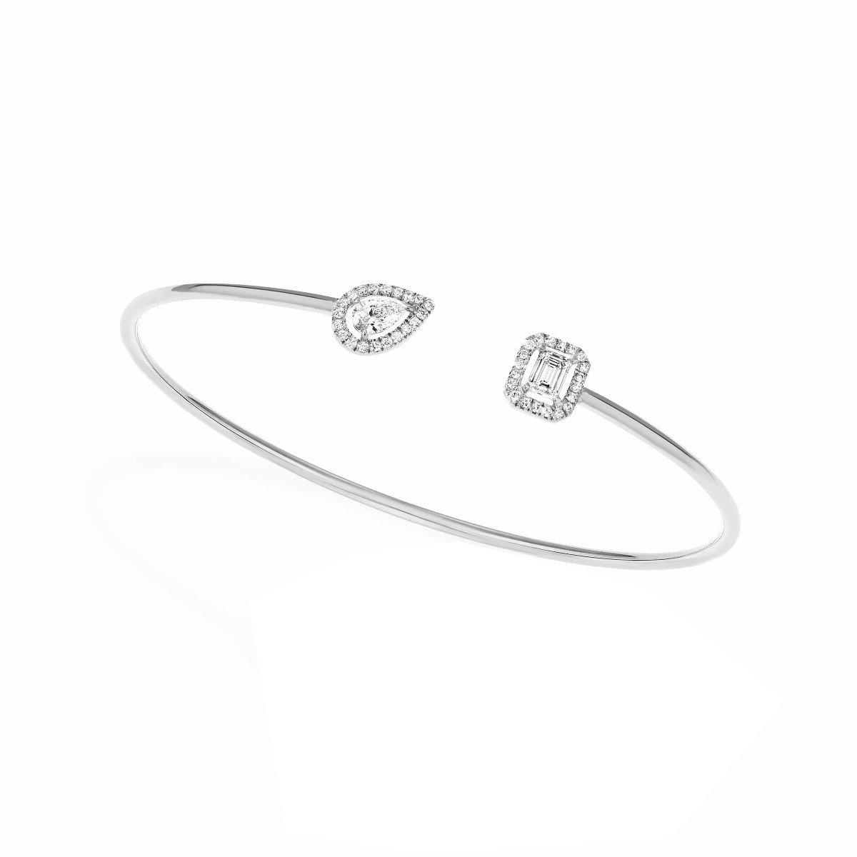 Bracelet jonc Messika My Twin Toi & Moi en or blanc et diamants vue 2