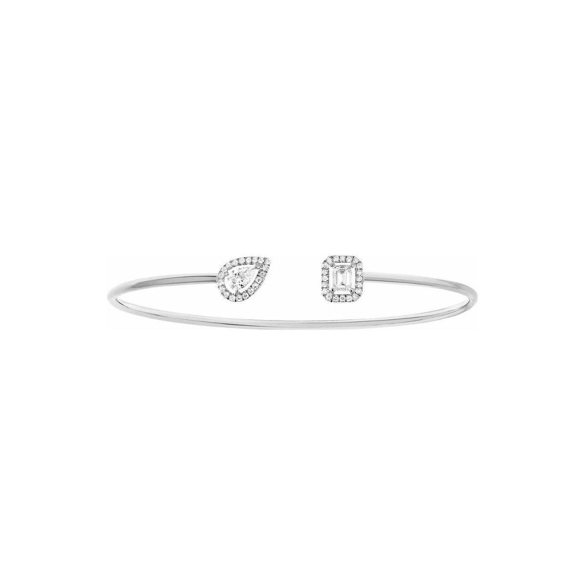 Bracelet jonc Messika My Twin Toi & Moi en or blanc et diamants vue 1