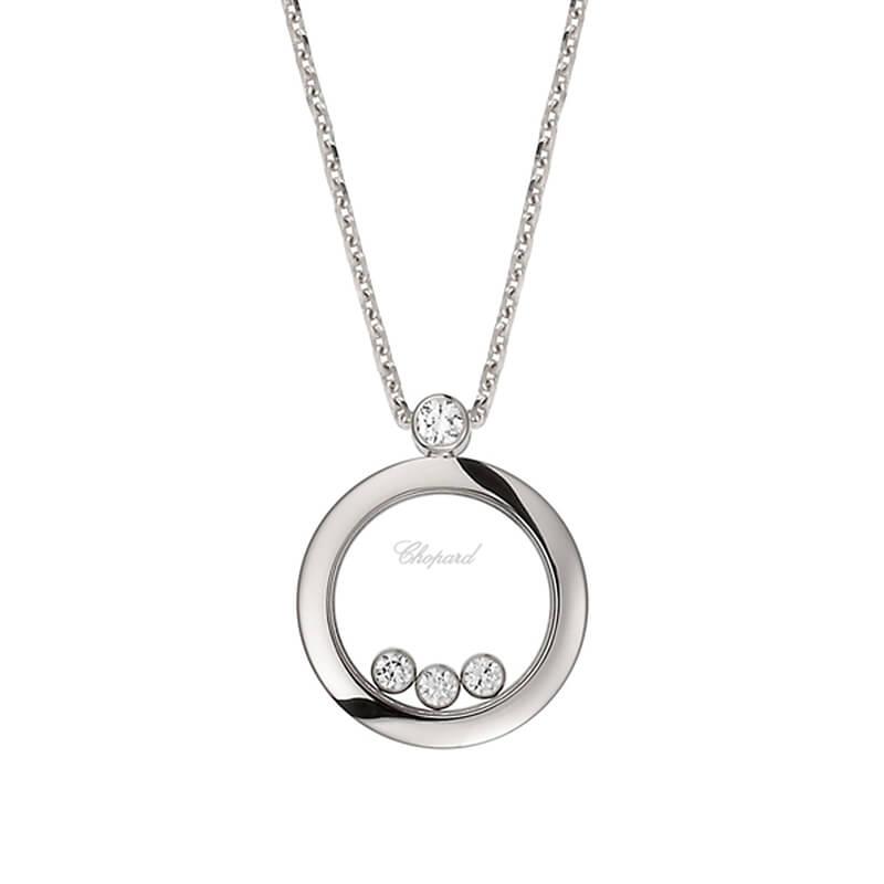 Pendentif Chopard Happy Diamonds Icons en or blanc et diamants