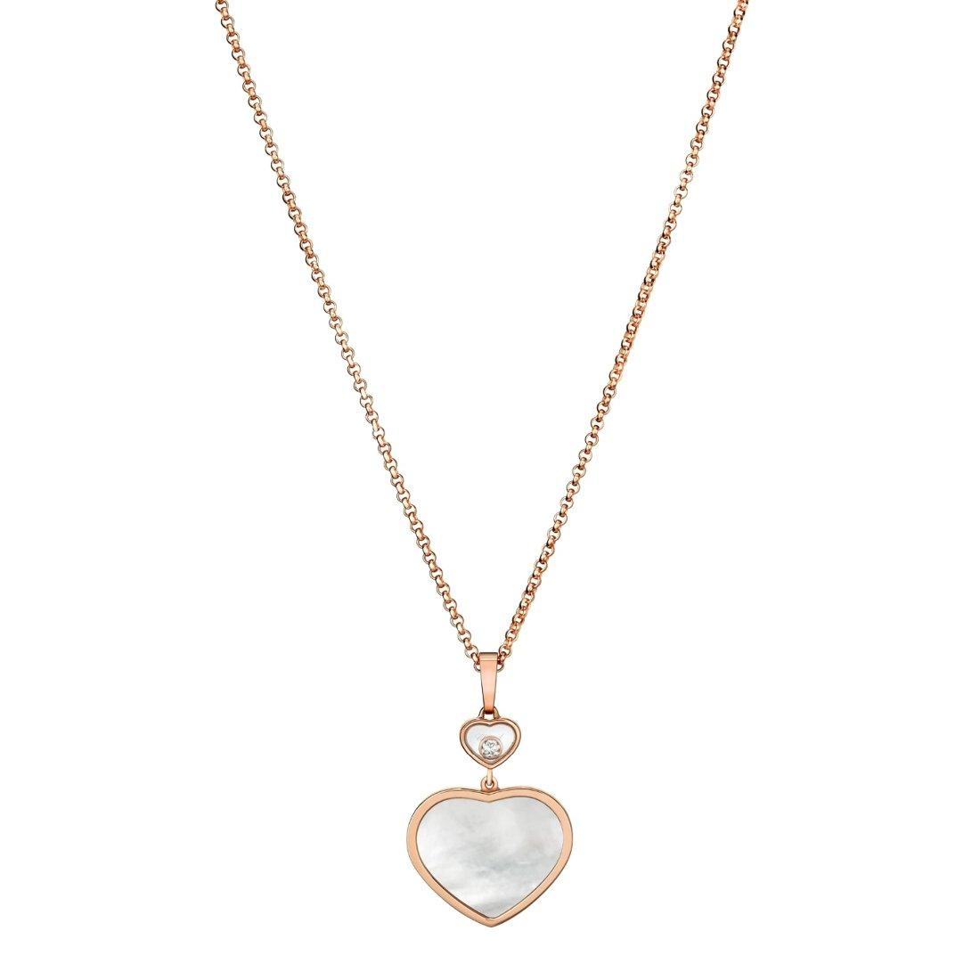 Collier Chopard Happy Hearts en or rose et nacre vue 1