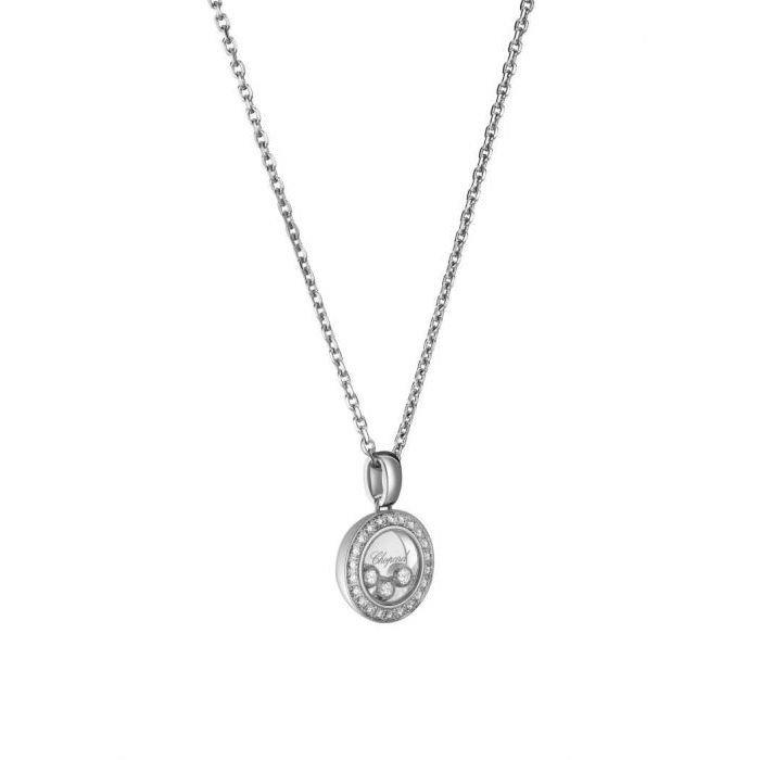 Pendentif Chopard Happy Diamonds Icons en or blanc et diamants vue 3