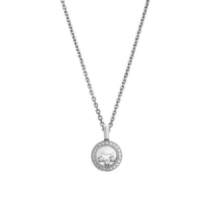Pendentif Chopard Happy Diamonds Icons en or blanc et diamants vue 1