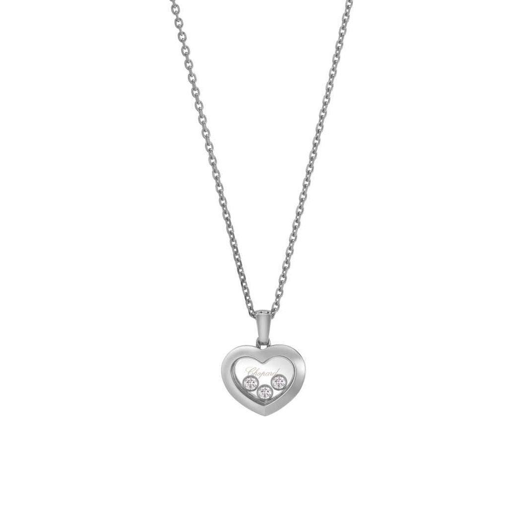 Collier Chopard Happy Diamonds Icons en or blanc et diamants vue 1