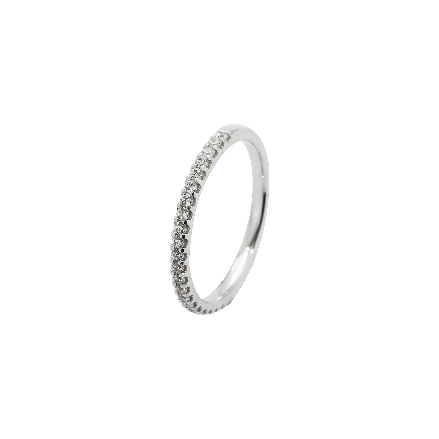Alliance demi tour en or blanc et diamants de 0.25ct