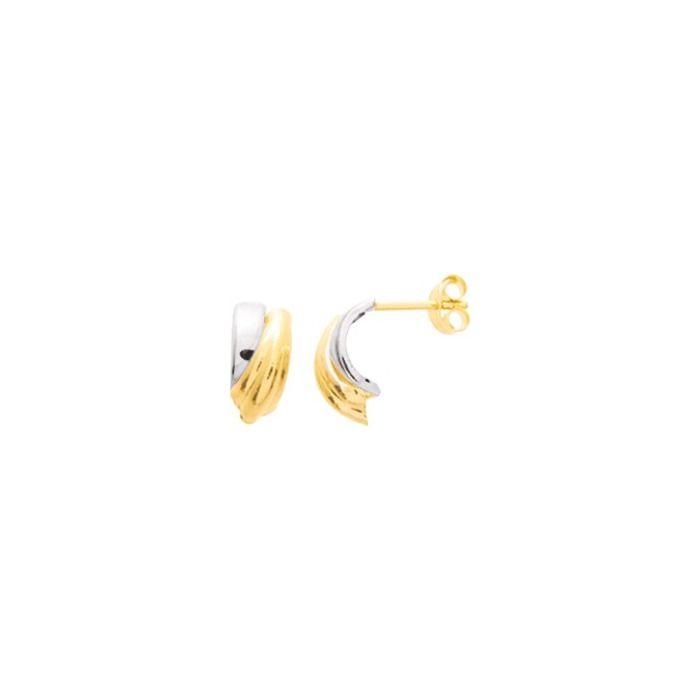 Boucles d'oreilles en or jaune et or blanc