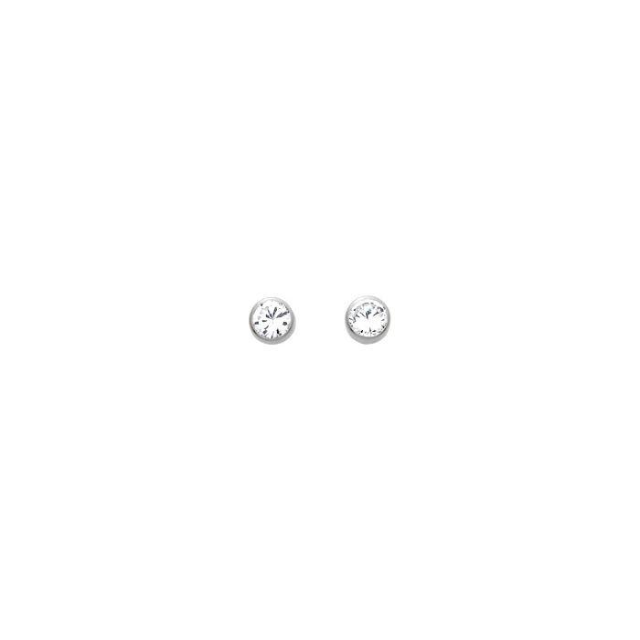Boucles d'oreilles rond en or blanc