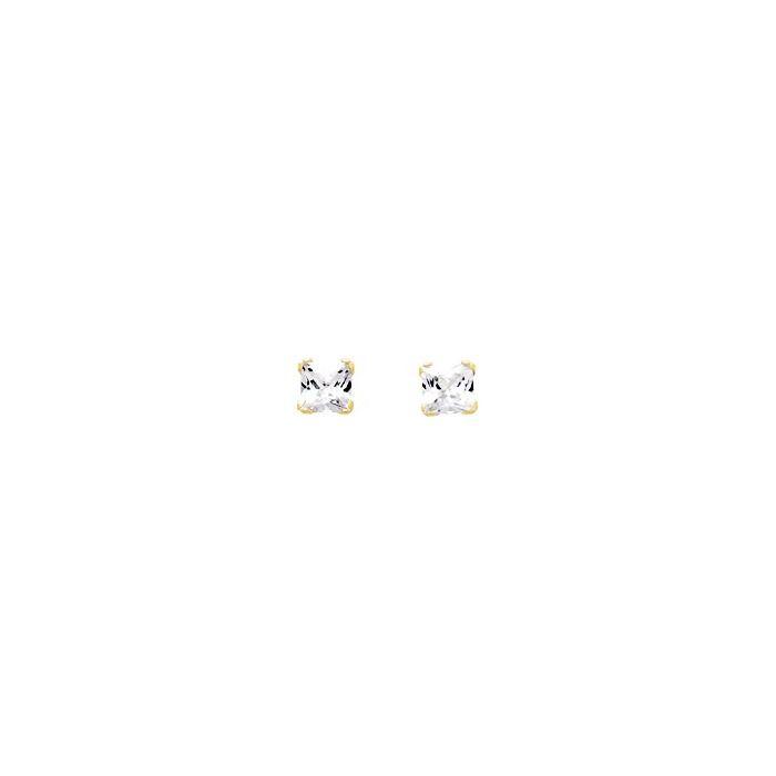 Boucles d'oreilles griffes carrés en or jaune et oxydes de zirconium