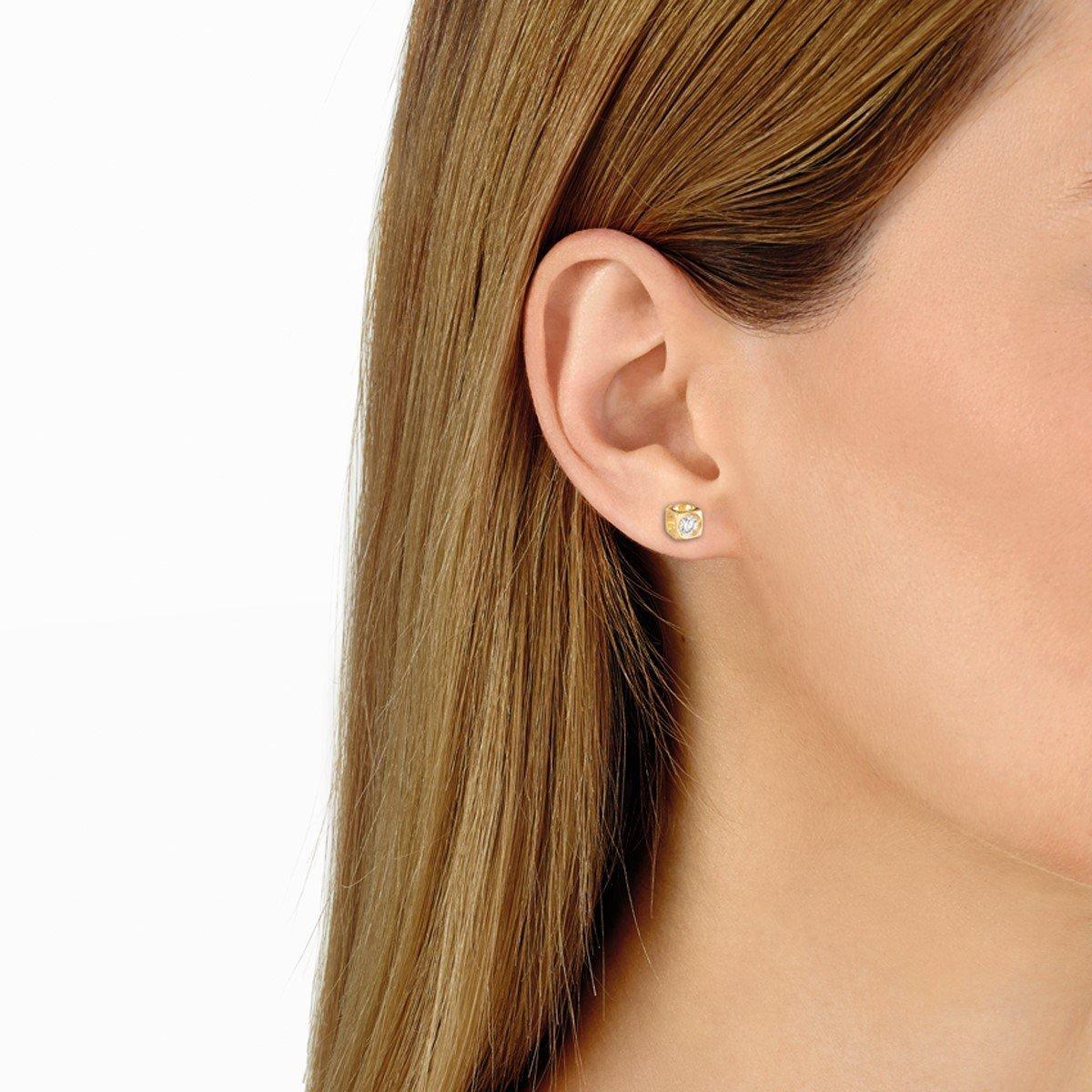 Boucles d'oreilles dinh van Le Cube Diamant en or jaune et diamants moyen modèle vue 2