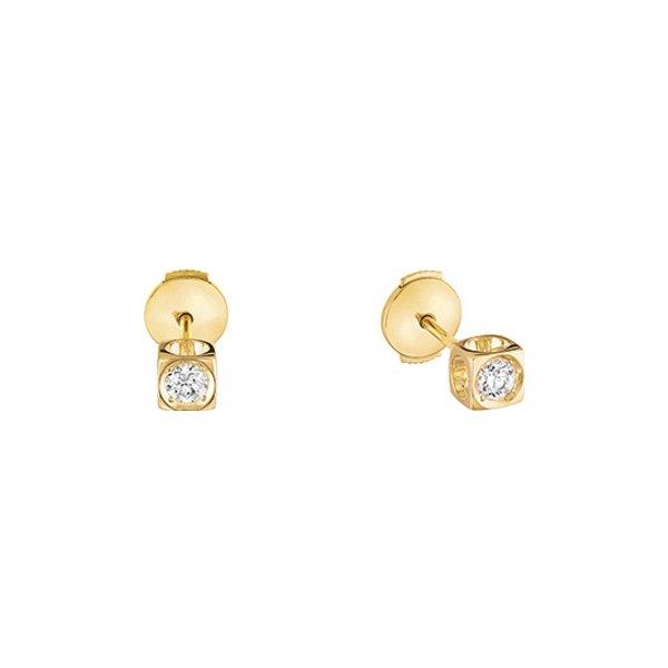 Boucles d'oreilles dinh van Le Cube Diamant en or jaune et diamants moyen modèle vue 1