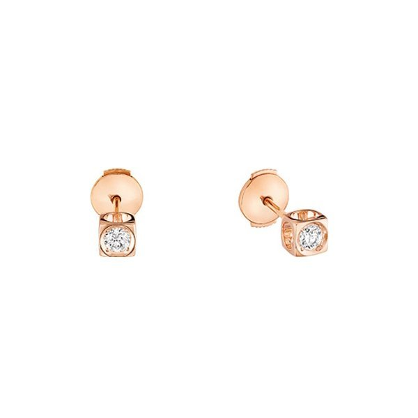 Boucles d'oreilles dinh van Le Cube Diamant en Or rose et Diamant
