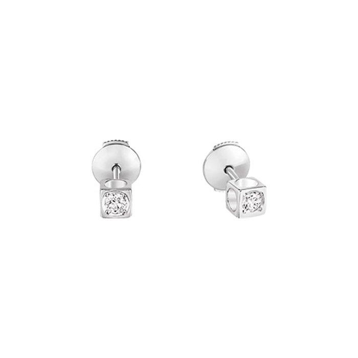 Boucles d'oreilles dinh van Le Cube Diamant petit modèle en Or blanc et Diamant