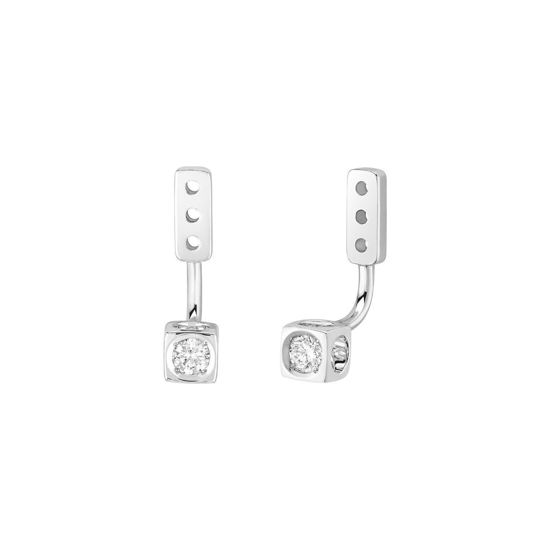 Dessous d'oreilles dinh van Le Cube Diamant petit modèle en Or blanc et Diamant