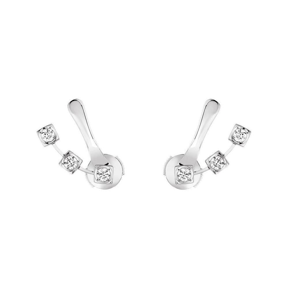 Boucles d'oreilles dinh van Le Cube diamant en or blanc et diamants