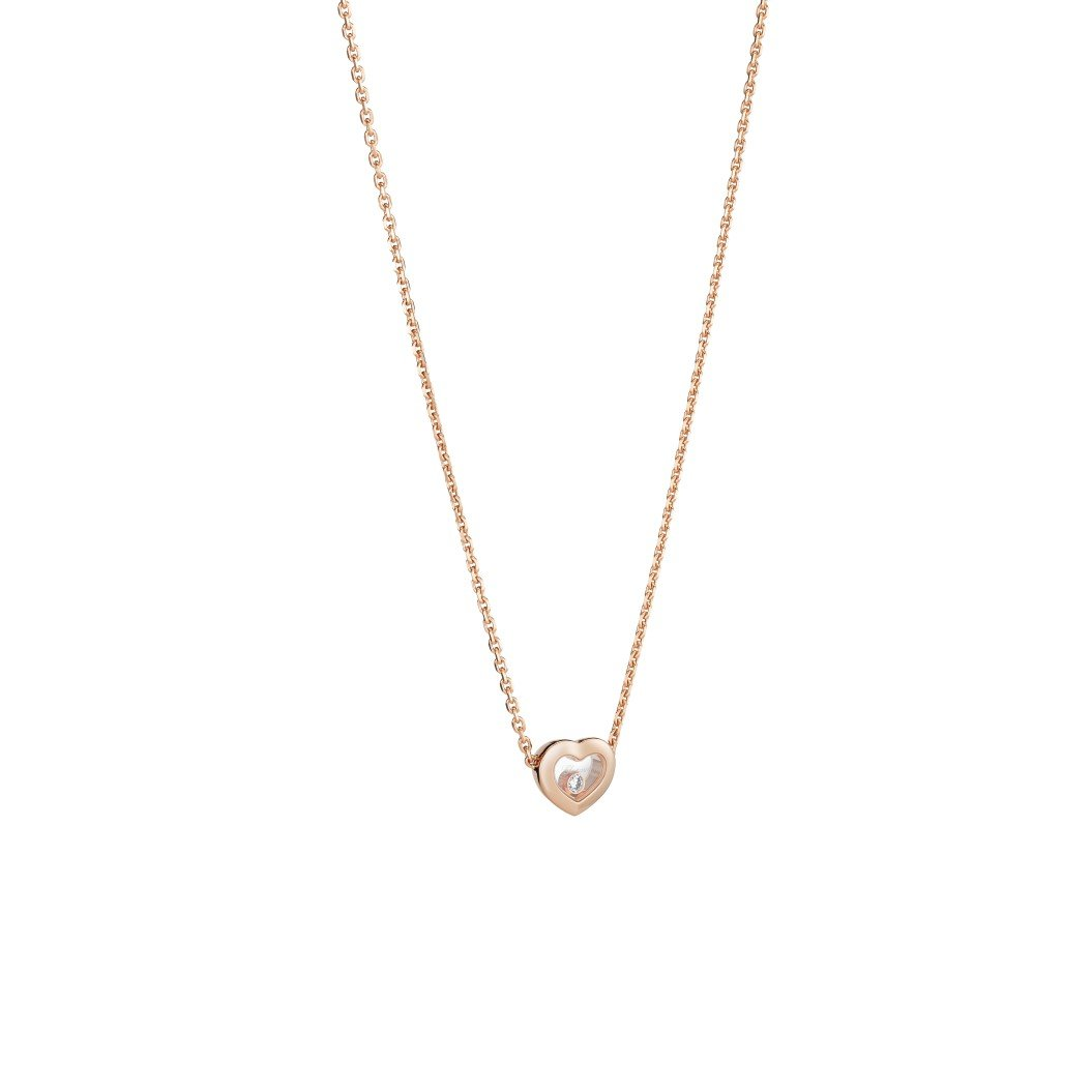 Collier Chopard Happy Diamonds Icons en or rose et diamants vue 2
