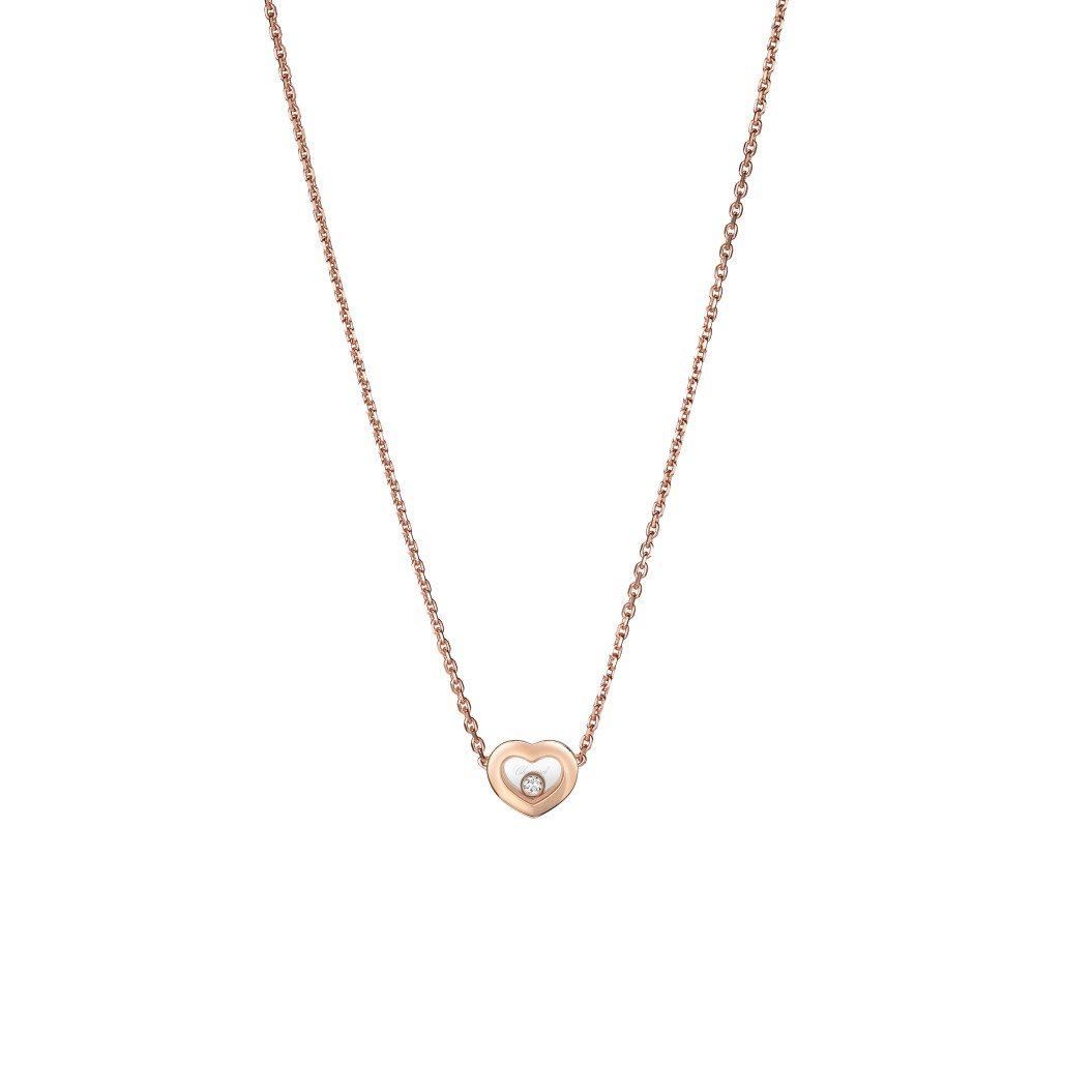 Collier Chopard Happy Diamonds Icons en or rose et diamants vue 1