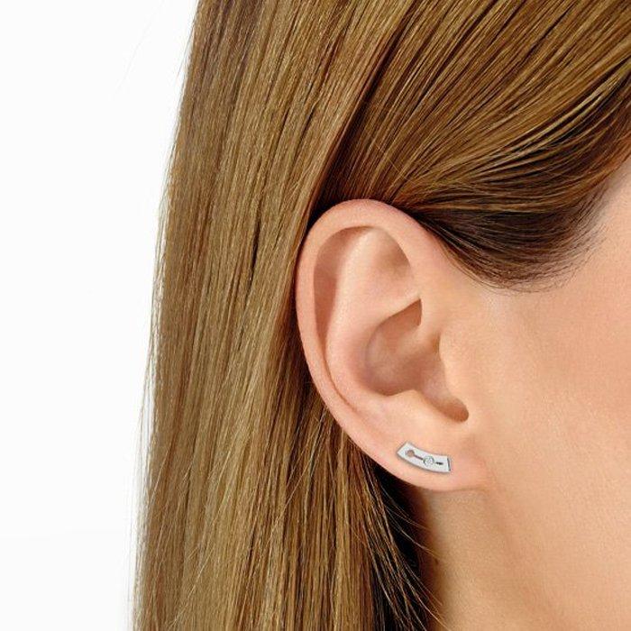 Boucles d'oreilles dinh van Pulse dinh van petit modèle en or blanc et diamants vue 2