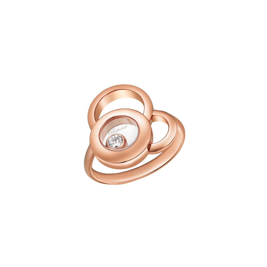 Bague Chopard Happy Dreams en or rose et diamant vue 3