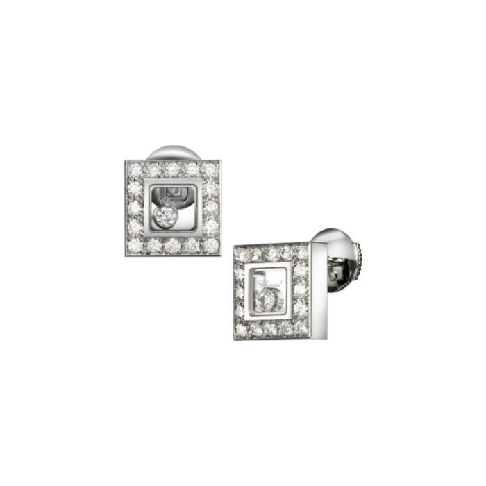 Boucles d'Oreilles Chopard Happy Diamonds en or blanc et diamants vue 2