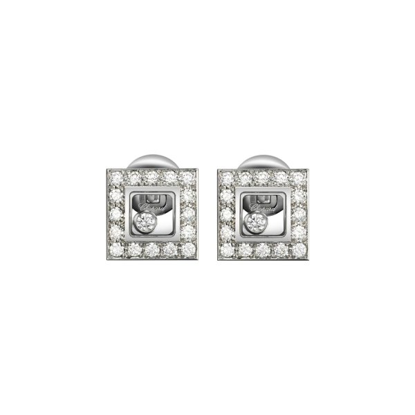 Boucles d'Oreilles Chopard Happy Diamonds en or blanc et diamants vue 1