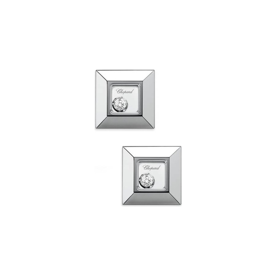 Boucles d'Oreilles Chopard Happy Diamonds en or blanc et diamants